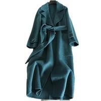 2018 осень зима модное женское Шерстяное кашемировое пальто двухстороннее шерстяное пальто с отложным воротником тонкое пальто