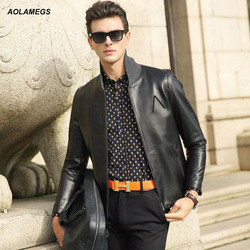 Aolamegs genuine leather jacket men real sheepskin motorcycle jacket coat top quality sheep skin leather thin.jpg 250x250
