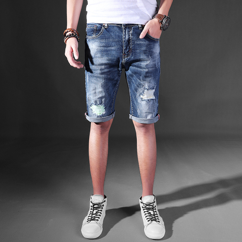 2017 Mens Jeans Men's Trousers Holes Biker Distressed Jean Casual Skinny Hip Hop Ripped Men Motorcycle Track Summer Short Pants