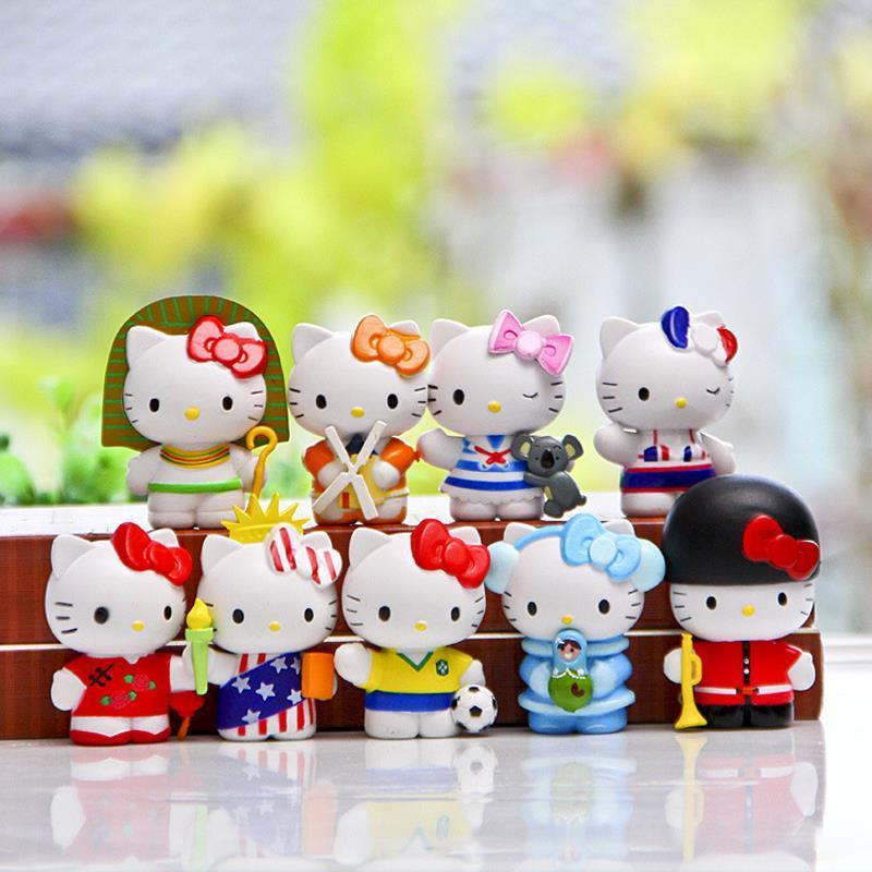 Hello Kitty Mini PVC Figures Anime Hello Kitty Action Figures Toys Set Collectible Model Toy Kids Toys for Boys Girls 9pcs/set sonny angel mini figures easter series 6pcs set toys christmas