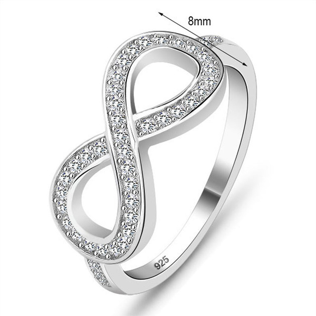 Sterling 925 Silver Ring Fashion Jewelry Infinity Crystal Silver Punk Finger Rings For Women Wedding Lady Infinity Ring #SI1136