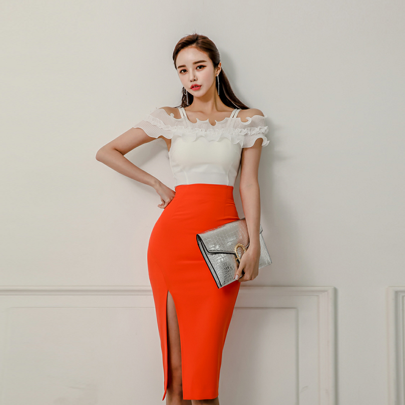 Women 2 Pieces Set Ruffles Patchwork Spaghetti Strap Tops & High Waist Side Split Bodycon Skirt Work Business Suits Female 2019