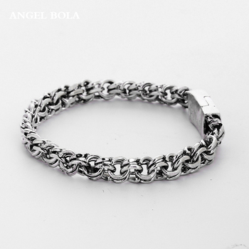 Man Bangles Charms Bracelets Men Pulseira Jewelry Gifts Fashion Punk Buddha Bracelet Ancient Silver Color for Women B1207-4T