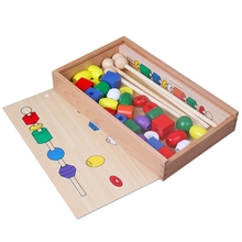 Wooden Toy Bead Sequencing Set Block Toys Classic Educational Games For Children