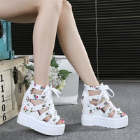 2019 summer new wild increase sandals thick bottom wedge high heels floral fish mouth women's shoes 34 yards strap