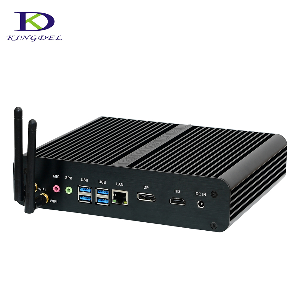 Kingdel New Fanless Mini PC KabyLake I7 7500U Micro Desktop PC Intel HD Graphics 620 4K HTPC With 16G RAM+512GB SSD+1TB HDD