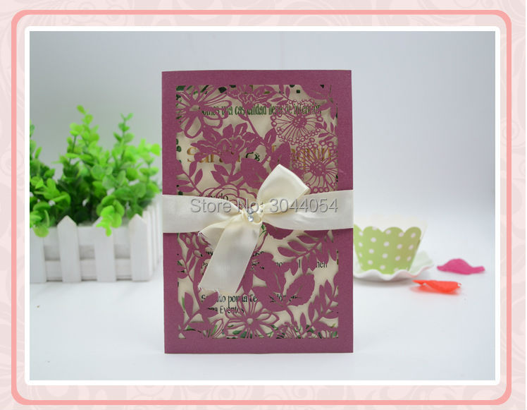 Discount Elegant Flower Pocket Wedding Invitation Card Decoration Lace Fancy Birthday Cards Printing Available