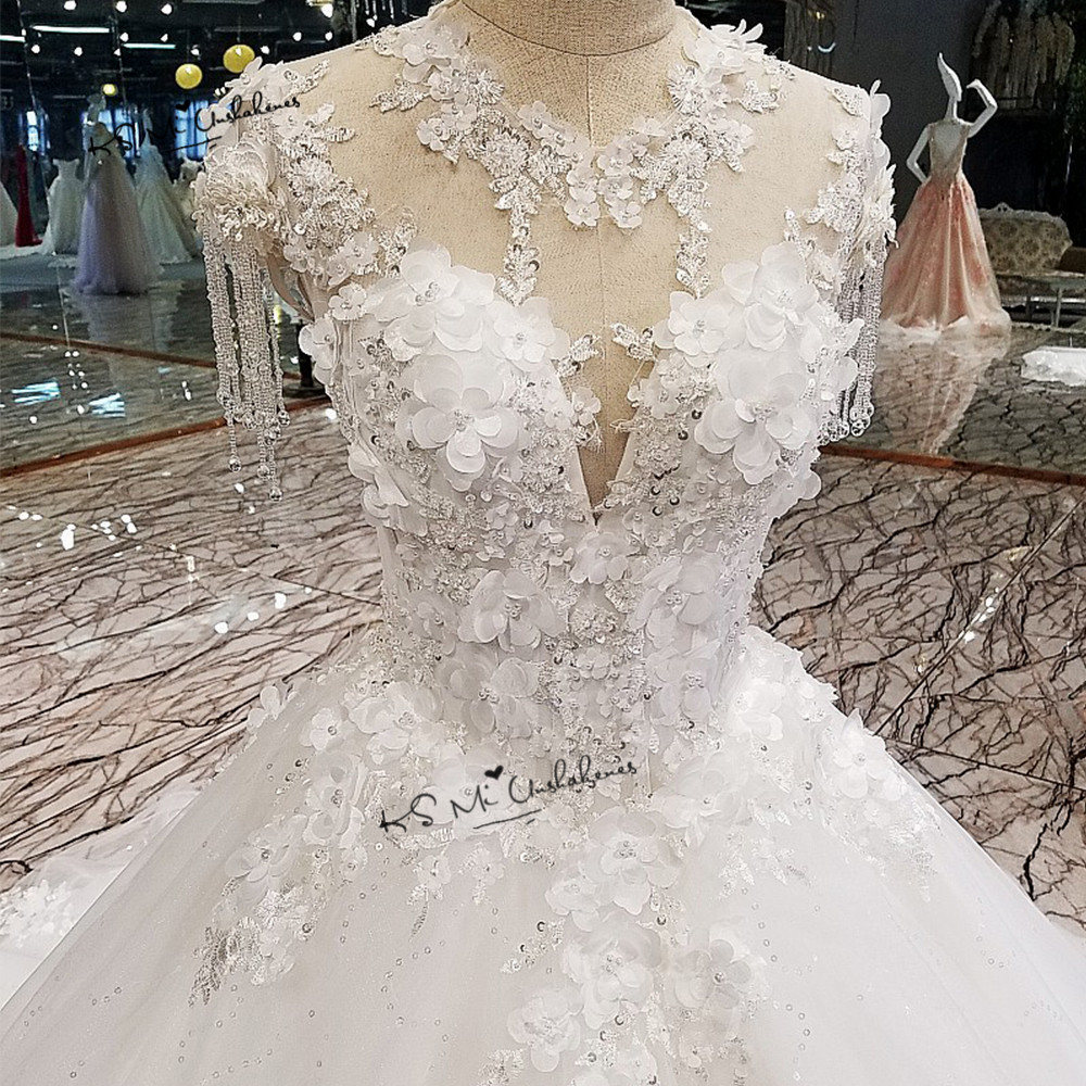 Vestido De Noiva 2018 Casamento Flowers Princess Wedding Dresses Vintage Ball Gown Bride Dress China Lace Wedding Gowns Sequined