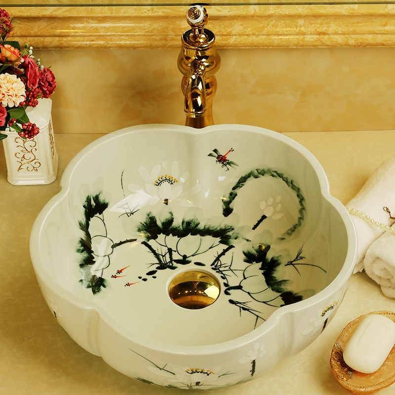 China Handmade Lavabo Washbasin bathroom sink bowl countertop Flower Shape Ceramic wash basin bathroom sink (3)