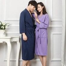 Summer New Men Cotton Sleepwear Long Sleeve Robe Plus Size 3XL Kimono Bathrobe Solid Color Night Dress Gown Casual Nightwear