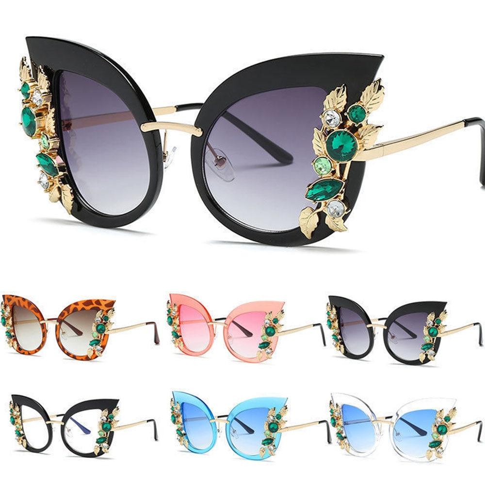 Fashion Cat Eye Rhinestones Sunglasses Women Sun Glasses Lens Alloy Sunglasses female Eyewear Frame Driver Goggles Flat Mirror|Driver Goggles| |  - title=