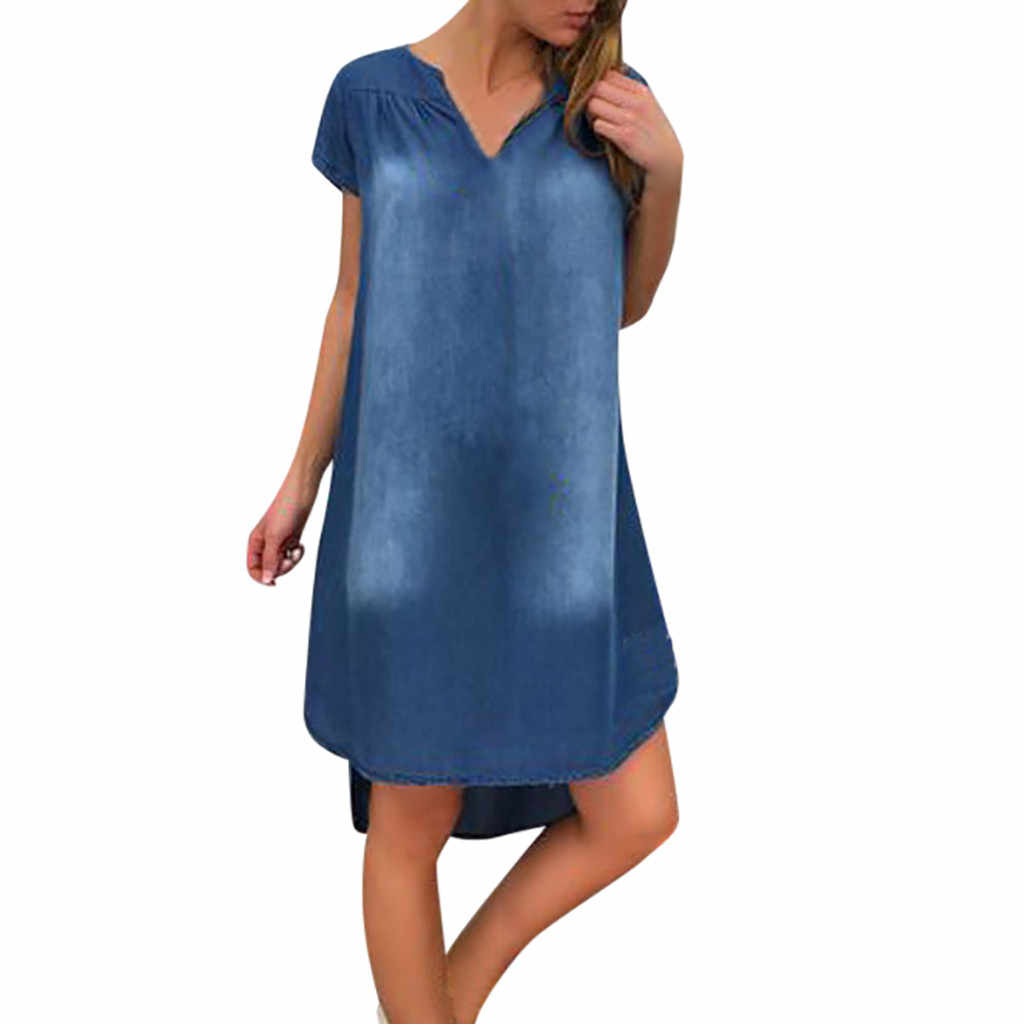 Women's Summer Casual Denim Dress Casual Loose Daily V Neck Short Sleeve Long Beach Party Jeans Dress Vestido Verano #B