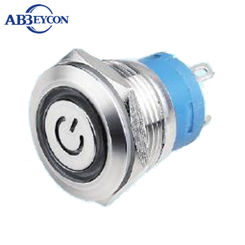 19414F 19mm reset switch ring led with Power Sign led Illuminated Momentary ON Push Button Switch
