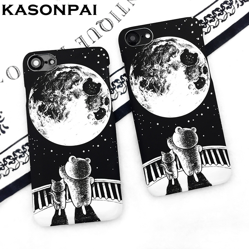 Kasonpai Fashion Phone Cases Starry Sky For Iphone 6 6s 7 7 Plus Cute Cartoon Black Cat Wishing Planet Moon Stars Phone Cover Phone Bags & Cases
