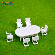 Free shipping 5sets plastic model  meeting room table and chairs scale model furniture toy 2018 oak furniture tv comedor meuble dining table sets free shipping to uk french style marble top dinning with 6pcs chairs