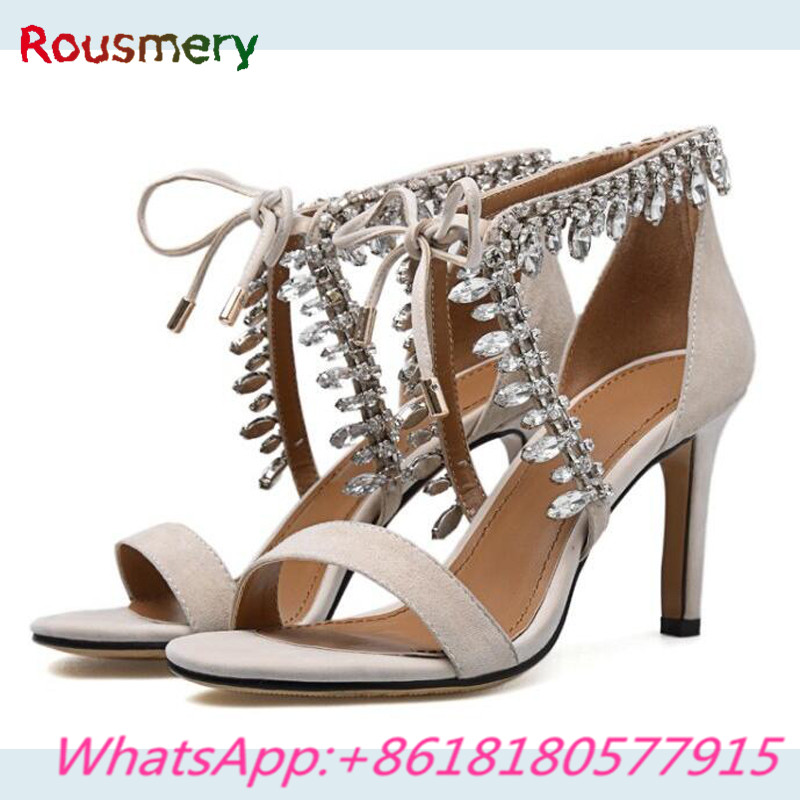 Fashion Crystal Mental Decoration Thin High Heels Woman Sandals Summer Lace-Up Party Zapatos Mujer Tacon Attractive Woman Shoes