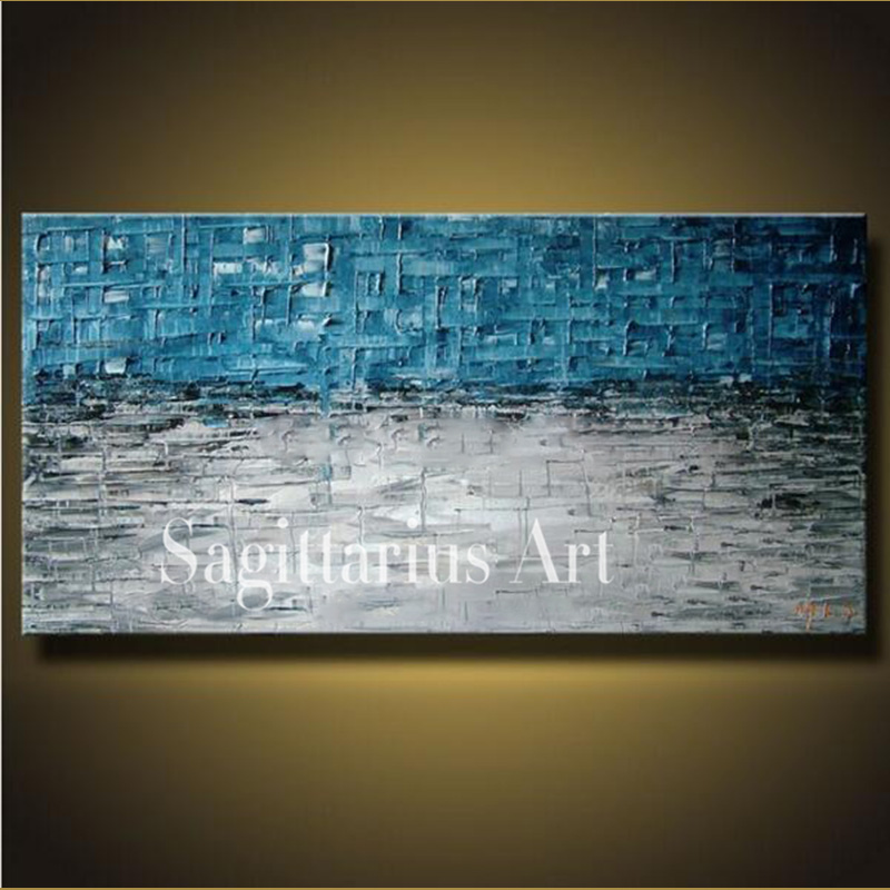 Hand Painted High Quality Seascape Wall Art Modern Palette font b Knife b font Painting Abstract