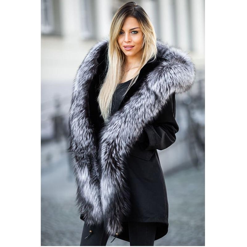 TOPFUR nouveau luxe naturel argent fourrure de renard Parka femmes hiver réel fourrure col capuche lapin à l'intérieur de la mode noir grande taille Parkas