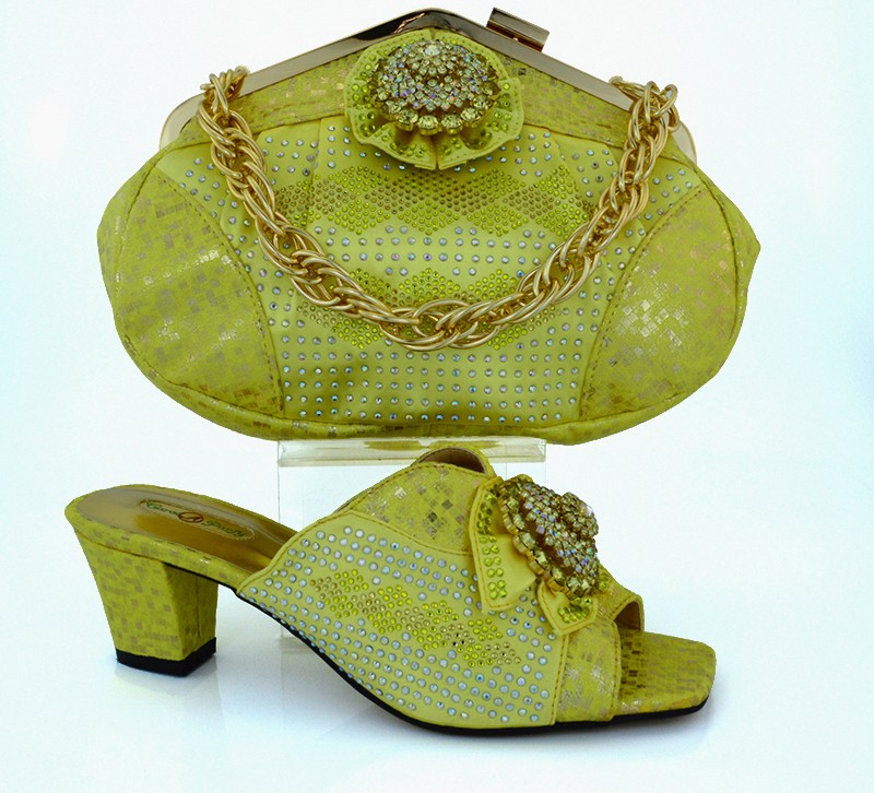 ФОТО Matching Shoes And Bag Sets To Match For Party And Wedding High Quality Italian Shoes And Matching Bag Set Yellow Color MM1011