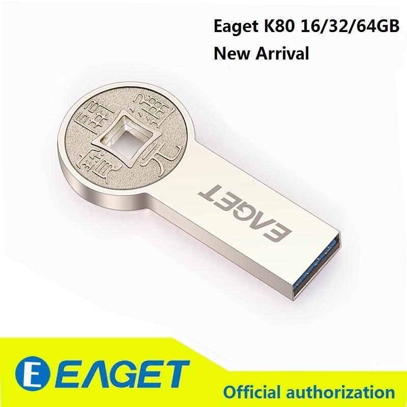 EAGET Flash Pen Drive 16GB USB 3.0 Keychain Hard Metal Shells Durable Designed High Speed U96 Waterproof