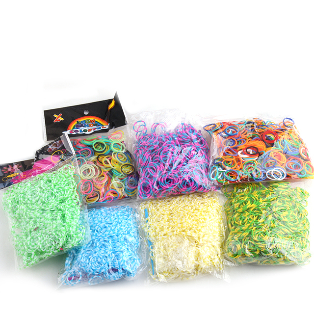 US $8 64 20% OFF MOODPC 8 bag mixed Loom Bands 600 bands/pack Rubber loom  bands kit for kids DIY bracelets different color mix rubber bands set-in