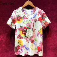 Svoryxiu Elegant Flower Print T Shirts Women's Fashion O Neck Short Sleeve Diamond Designer Brand Summer Tops Tees Female