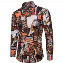 Fashion 2019 Spring-autumn Men's Casual Slim Fit shirts printing Linen Shirt Male Ethnic Style Clothes Plus Size 5XL 4XL