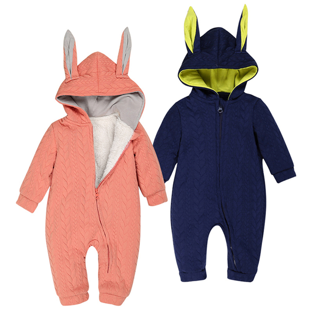 efdb3b164bc4 DLY072 Winter Thick Baby Rompers Climbing Clothes Boys Girls Newborn  Coverall Warm Knitted Sweater Animal Cotton