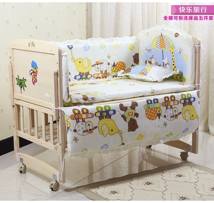 Promotion! 6PCS Bear Crib Sheet Bumpers Baby Bedding Crib Sets For Babys (3bumper+matress+pillow+duvet)