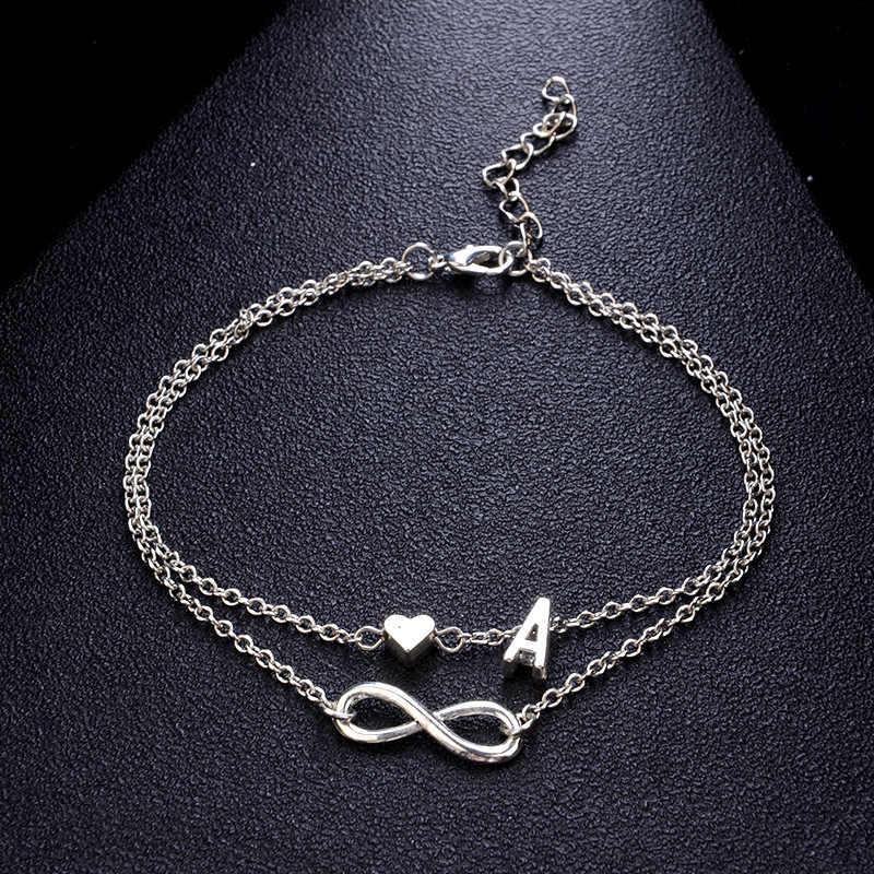 2019 w stylu Vintage srebrny łańcuszek na kostkę kobiet list serce artystyczny cheville Boho urok biżuteria I kostki bransoletki dla kobiet DROP shipping