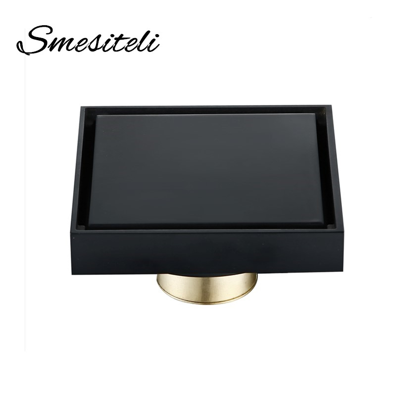 High Quality Bathroom Accessories Brass Matte Black Finish Bath Shower Floor Drain 100x100mm Square Waste Drain