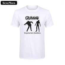 SexeMara Mens Shirt Attack of Vegan Zombie Tee for Vegetarian Funny T-Shirt Cotton Casual Clothing Summer Top