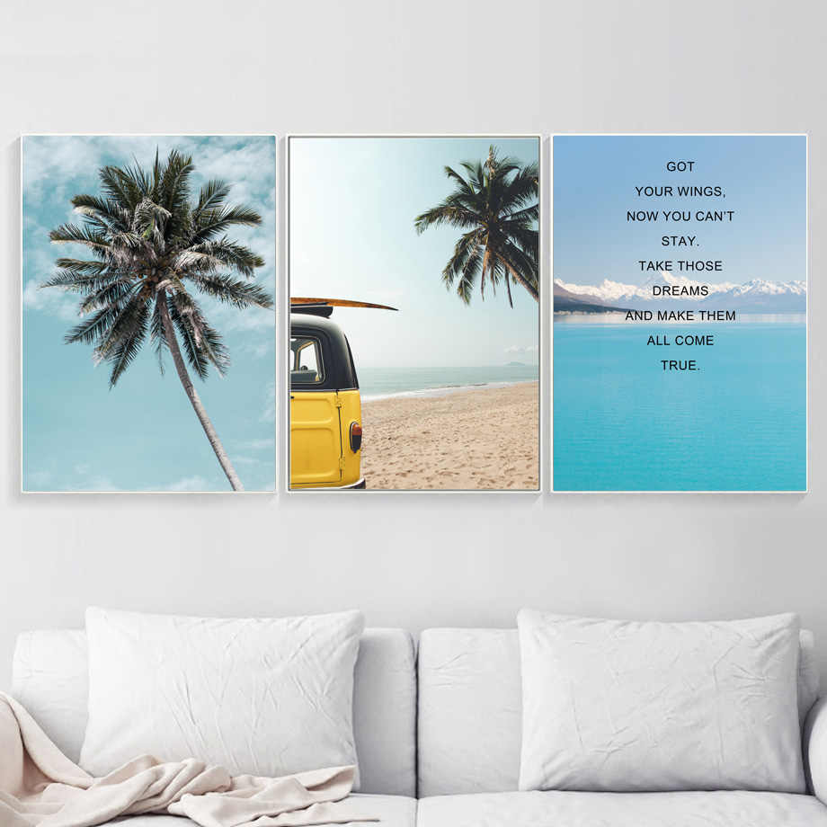 Gohipang Palm Tree Sea Beach Motivational Quotes Wall Art Canvas Painting  Nordic Posters And Prints Wall Picture Home Decoration
