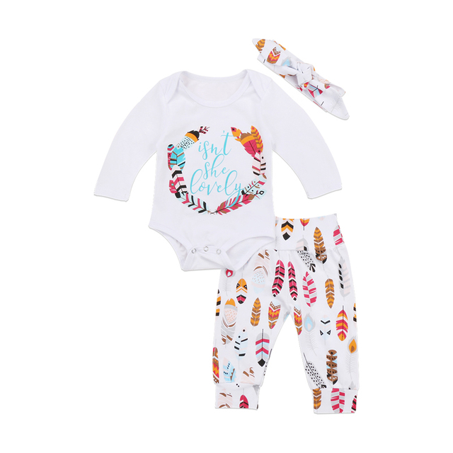ba094d65384f New Fashion AU Stock Newborn Baby Girl Boy Clothes Long Sleeve Print Letter  Tops Romper Long Pants Hat Outfits Clothes Set