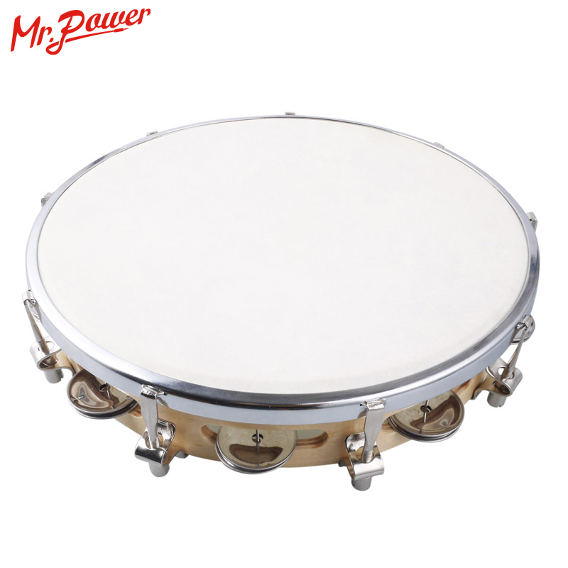 10 Tambourine Capoeira Leather Drum Pandeiro Samba Brasil Wooden Tamborine Precussion Music Instrument For Sale