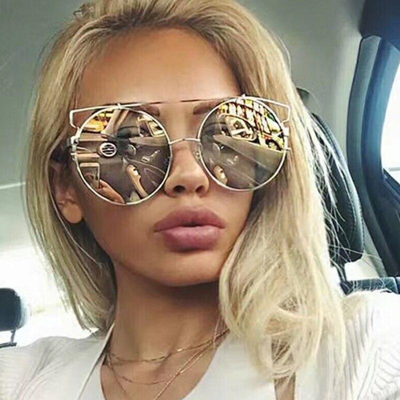 9679099a29a3a 2017 New Fashion Cat Eye Oversized Big Round Sunglasses Women Super Star  Brand Designer Lady Rose