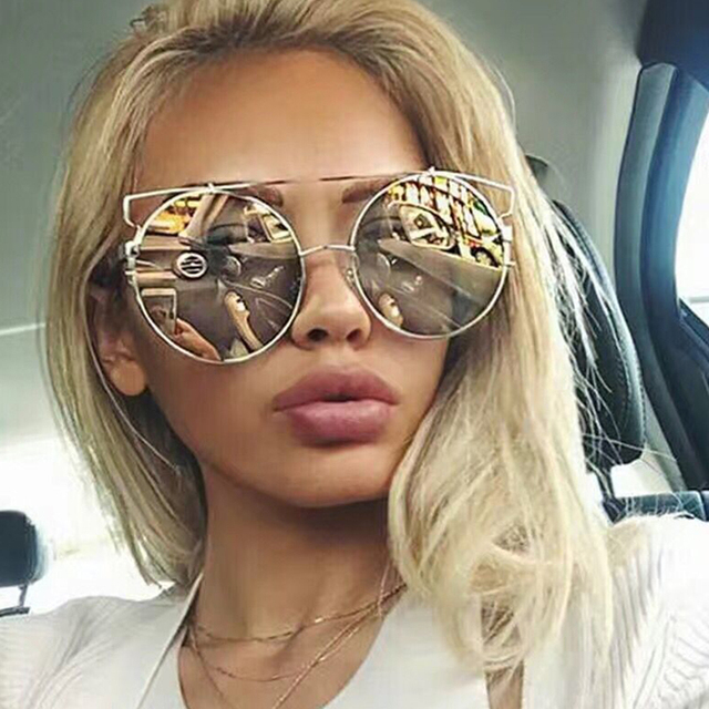 371bb0339 2017 Nova Gato Moda Eye Oversized Big Rodada Óculos De Sol Das Mulheres Da  Marca Super