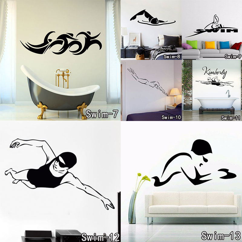 GYM Sports Wall Decal Stickers Swim Swimming Pool Swimmer ...