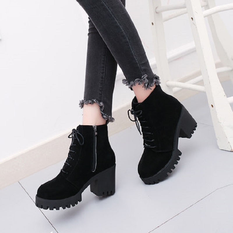 2018 new short tube autumn and winter women's boot thick with high-heeled solid color round head fashion casual warm boots wome 2