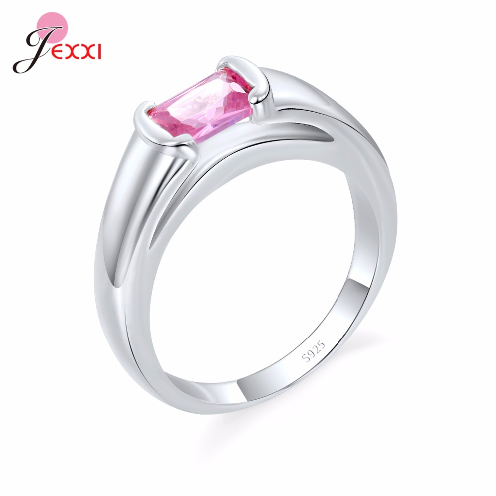 JEXXI New Deisgn 925 Sterling Silver Simple Rings Men With Black Pink AAA Cubic Zirconia Crystal Bague Bijoux Jewelry Party Gift