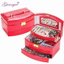 Guanya cuero de alta calidad caliente tres capas en forma de abanico portátil multi-funcional collar anillos etc joyas cajas de regalos caja