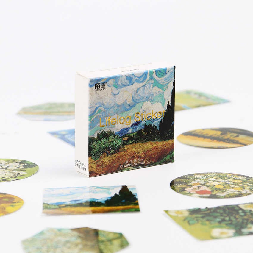 45 unids/set Van Gogh Reproduce pegatinas decorativas clásicas pegatinas adhesivas DIY decoración diario Scrapbooking pegatina en caja