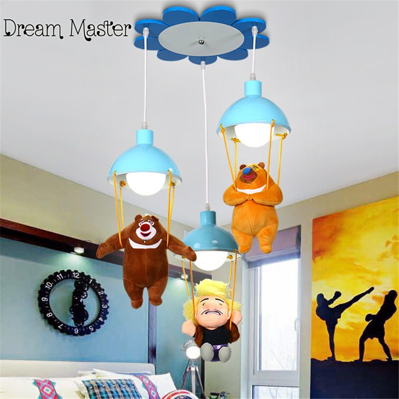 Kindergarten decorative lights cartoon children Pendant LED chandelier boys and girls bedroom lighting Postage free 2017 lamparas modern children bedroom led chandelier cartoon little bee girls and boys study glass light fixture free shipping