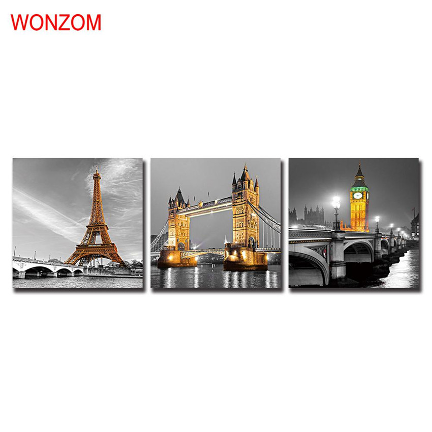 Framed paris scenery canvas canvas schilderij tower for Modern home decor for cheap