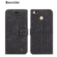 Beworlder For Xiaomi Redmi 4X High Quality Genuine Leather Case Wallet Vintage Hand Made Phone Bags