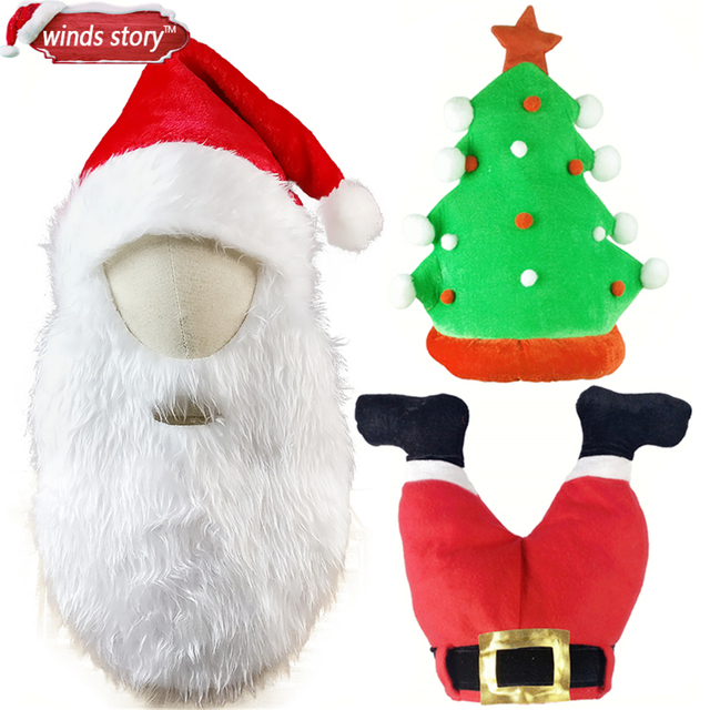 1pcs deluxe adult unisex christmas xmas novelty hat party wear plush christmas tree santa cap holiday