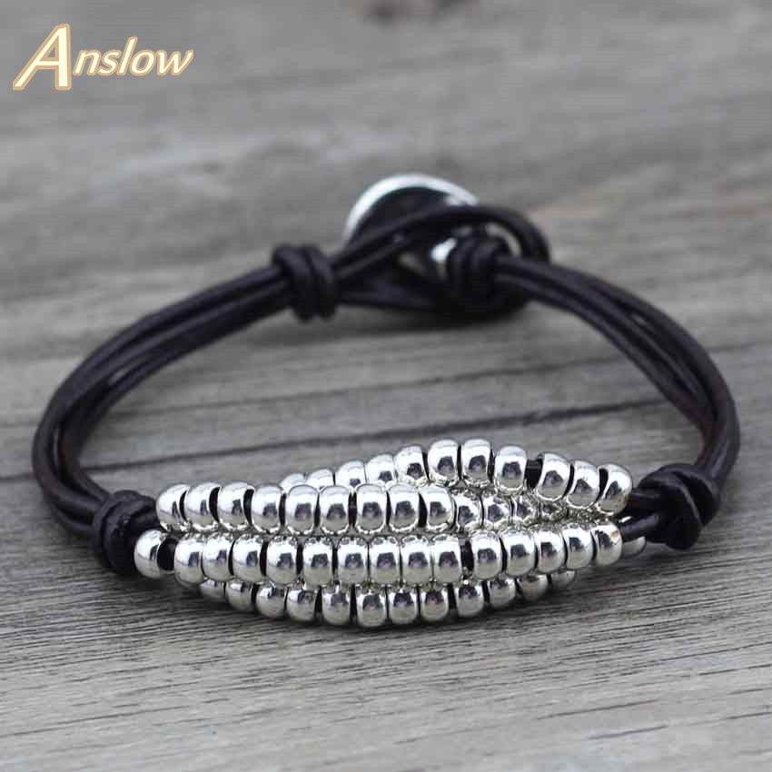 Anslow Top Quality New!New! Brand Antique Silver Plated Healthy Zinc Alloy Beads Leather Bracelet For Women Men Kids LOW0374LB