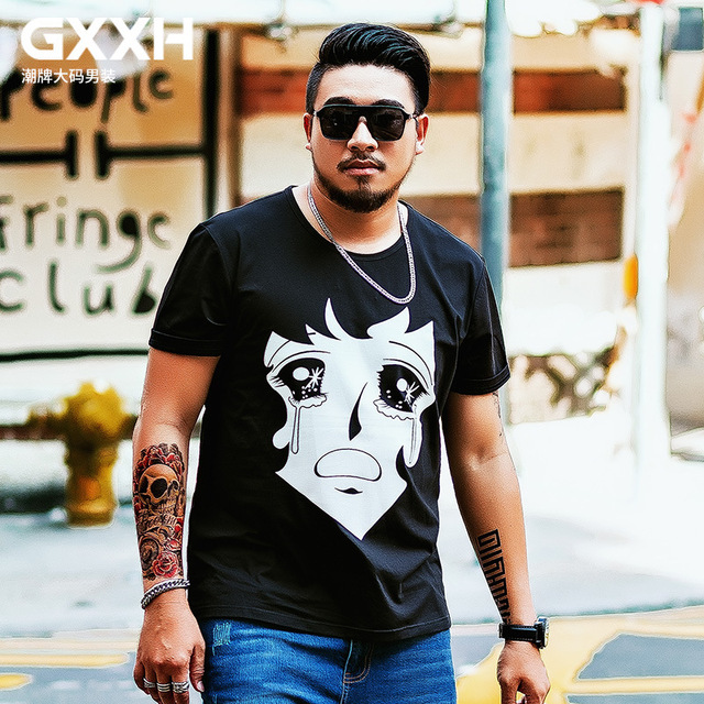 a6a32ab1587 GXXH Plus Size Short Sleeve T-shirt for Men 2018 Summer Large Size Cartoon  Graphic Crying Girl Printed Male Tee 5XL 6XL 7XL Man