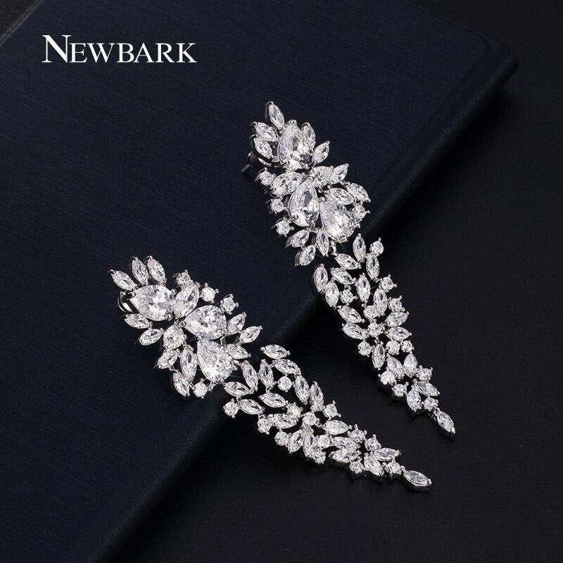 купить NEWBARK Luxury Flower Drop Earrings Silver Color Pear And Marquise Brilliant Cut Cubic Zirconia Long Brincos Jewelry