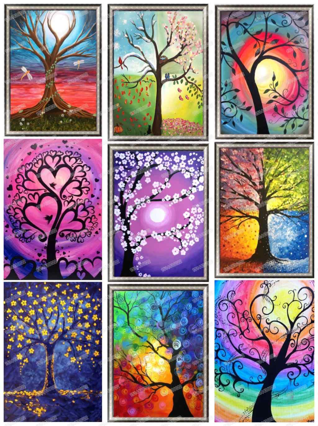 37a44b9e34 Full diamond round 5D diamond painting tree color landscape diamond  embroidery cross stitch love 2019 gift
